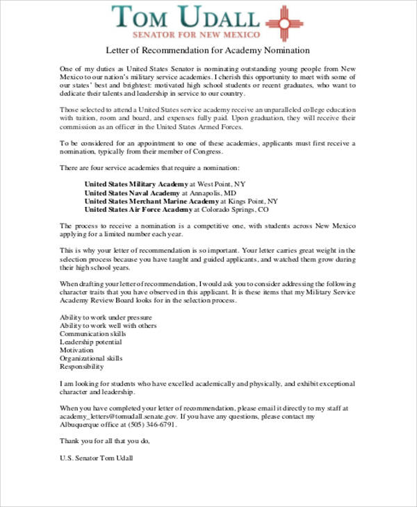 Military Letter Of Recommendation Format  Formats For Letters Of Recommendation