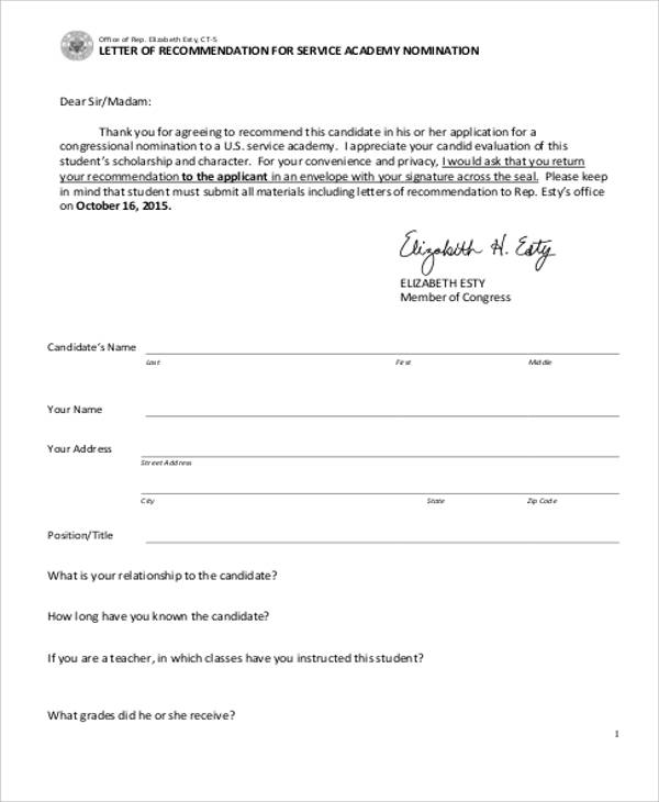 military academy letter of recommendation sample
