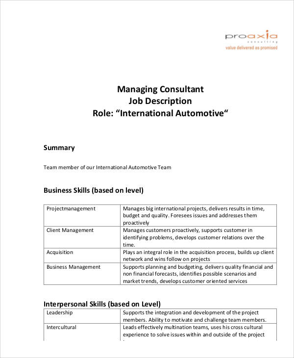 Management Consultant Job Description Sample 8 Examples In Word Pdf