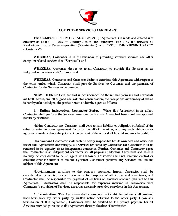 computer service agreement contract
