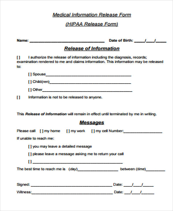 general hipaa release form pdf