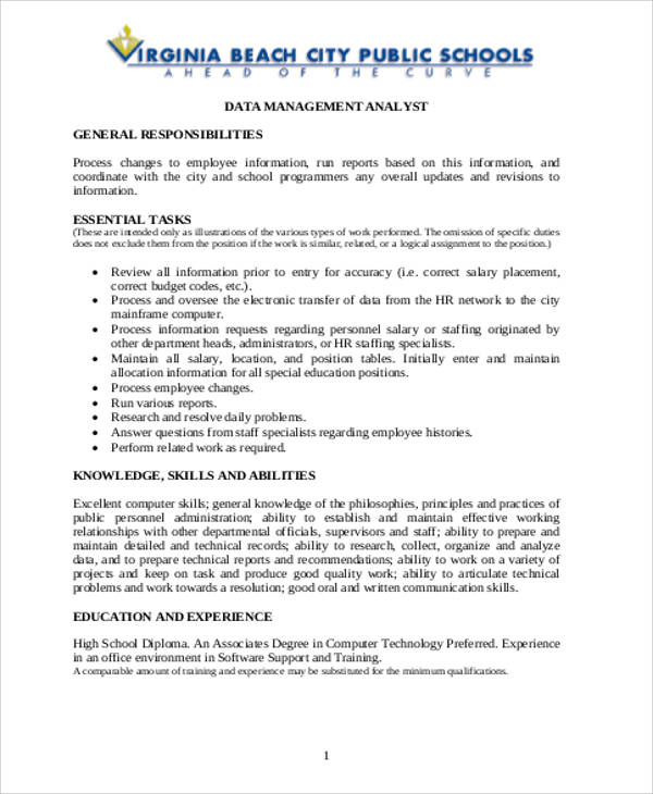 Management Analyst Job Description Sample   Examples In Word Pdf