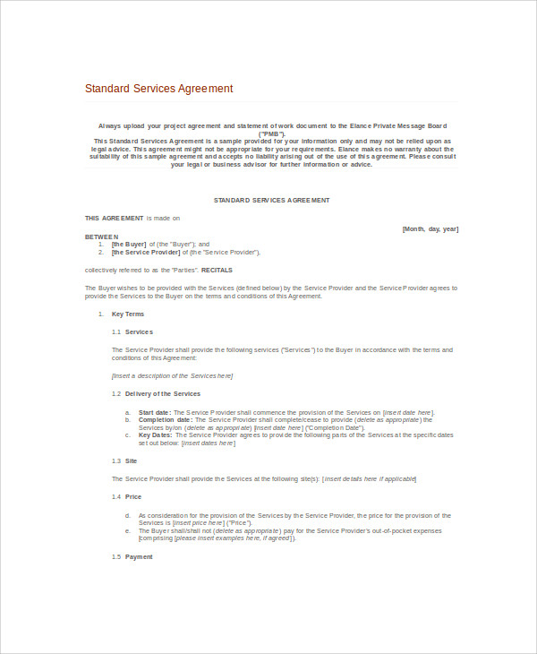 standard service agreement contract