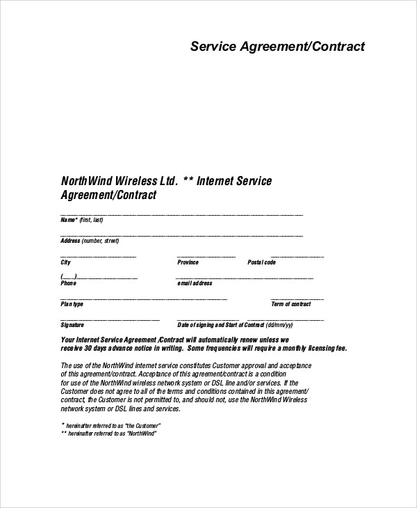 Sample Service Agreement Contract 8 Examples In Word Pdf