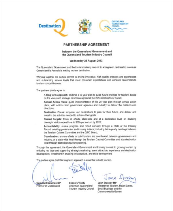 tourism business partnership agreement 2