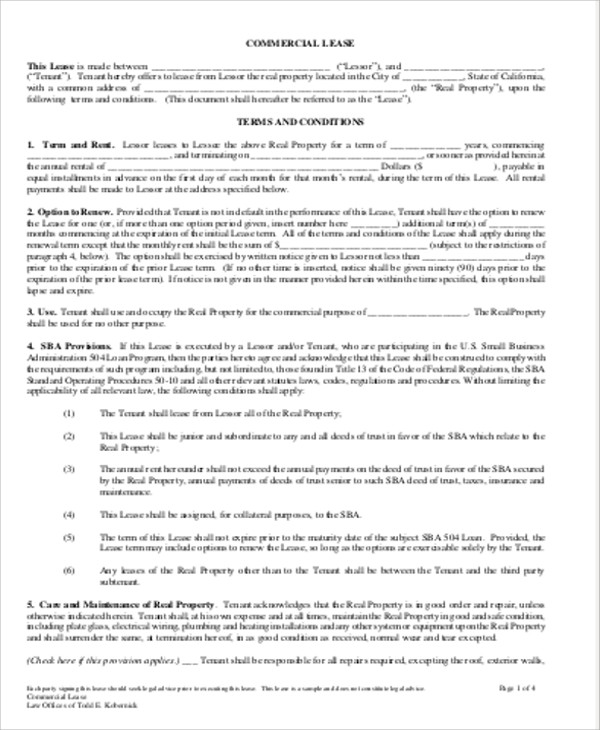 Sample Commercial Lease Agreement In Pdf   Examples In Word Pdf