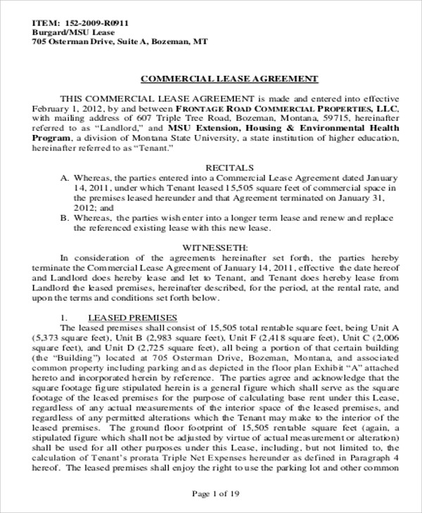 Sample Commercial Lease Agreement in PDF 10 Examples in Word PDF – Lease Agreement Sample