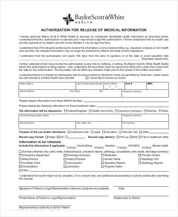 Sample Medical Release Of Information Form