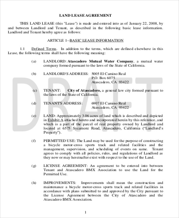 Sample Commercial Lease Agreement in PDF 10 Examples in Word PDF – Sample of a Lease Agreement
