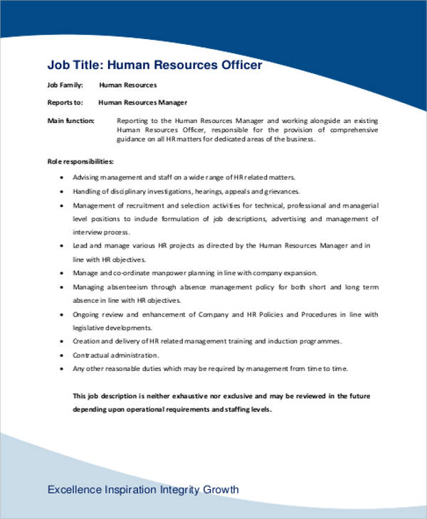 Human Resource Management Job Description Sample 7 Examples in – Human Resources Manager Duties
