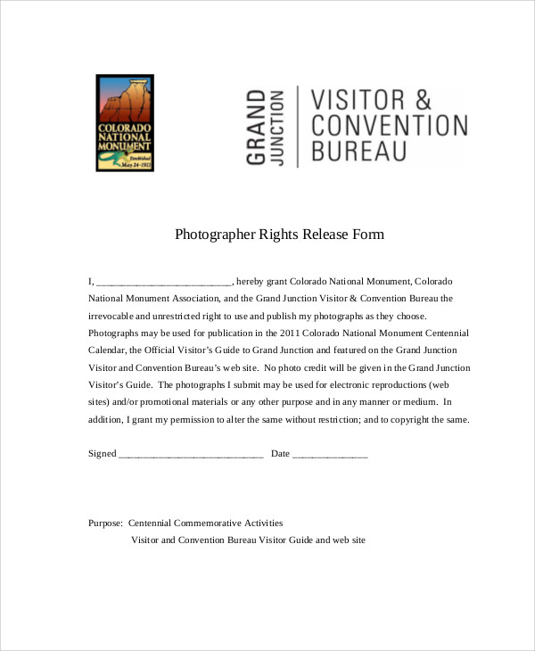 Sample Photographer Release Forms   Examples In Word Pdf