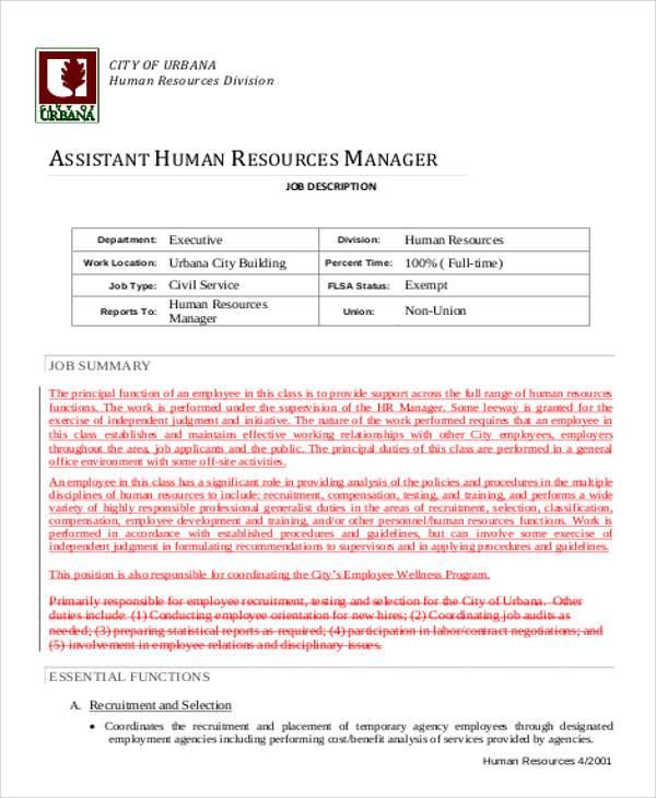 assistant human resource management job description