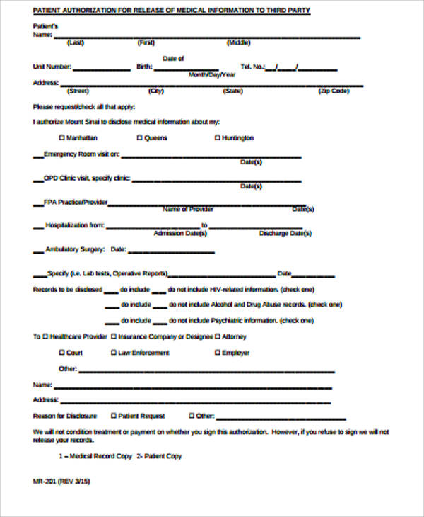 Medical Record Release Form Sample   Examples In Word Pdf