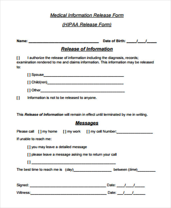 medical record release form sample 9 examples in word pdf