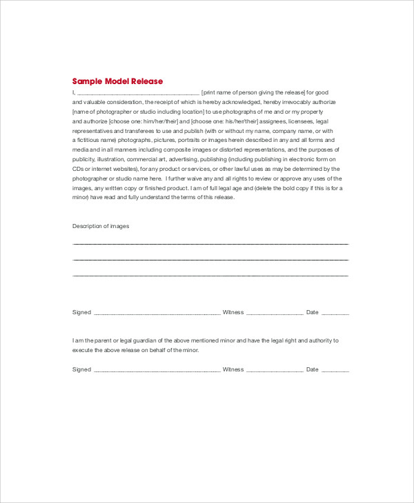 model photographer release form1