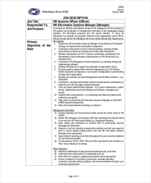 human resource management system job description