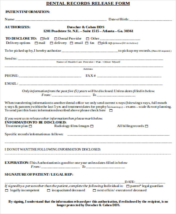 dental record release form sample