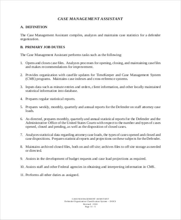 Case Management Assistant Job Description Format