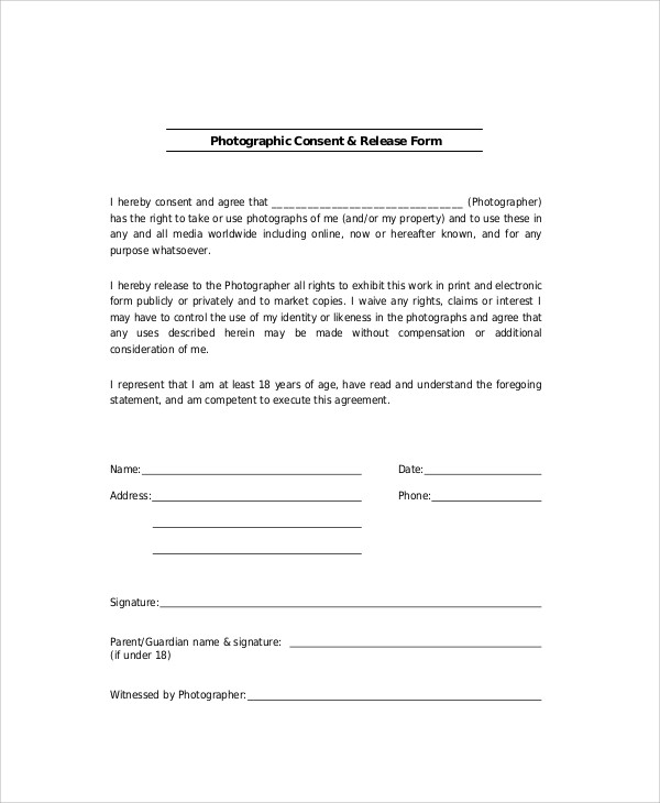 photographic cosent release form