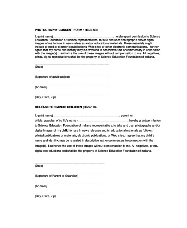 6 sample photographer release forms sample templates for Photographic release form template