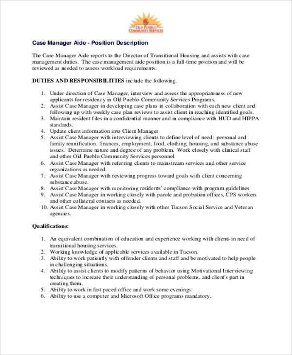 Sample Case Management Aide Job Description   Case Management Duties