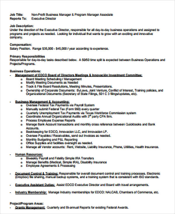 9 sample business manager job descriptions sample templates