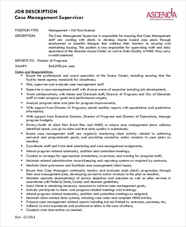 Case Management Job Description Sample   Examples In Word Pdf