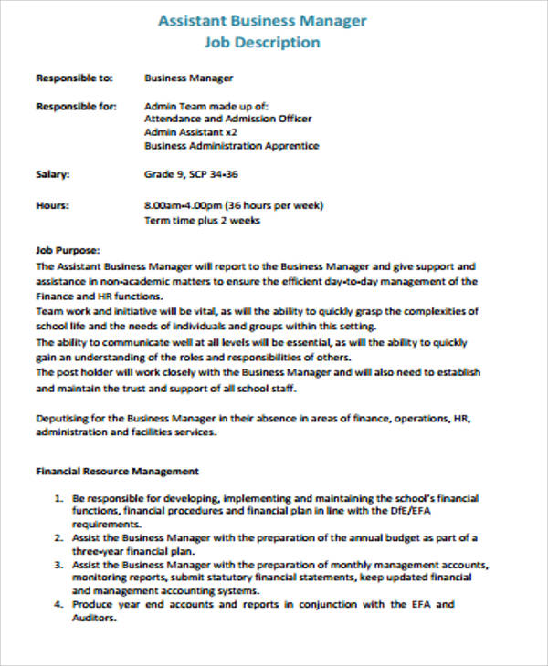 assistant business manager job description thesynaptictrustorg - Job Description Of Business Administration