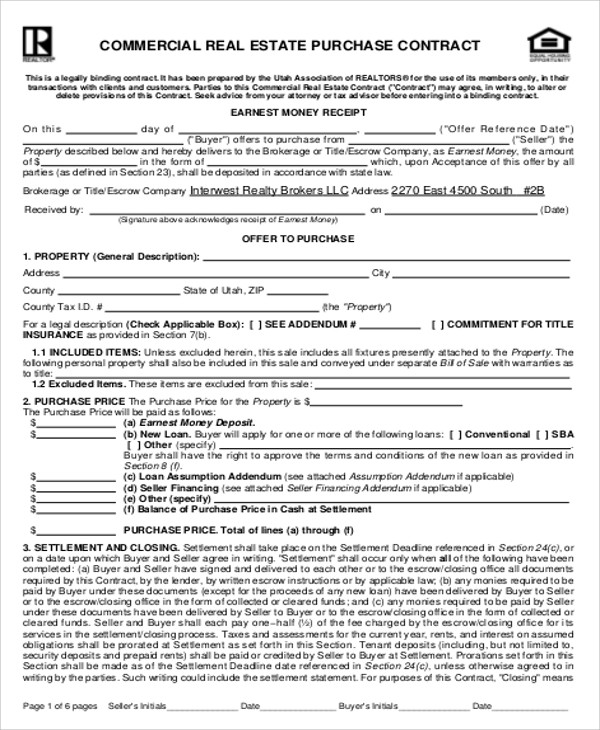 Commercial Real Estate Purchase Agreement Commercial Investment