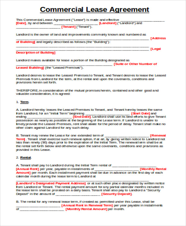 commercial rental lease agreement doc