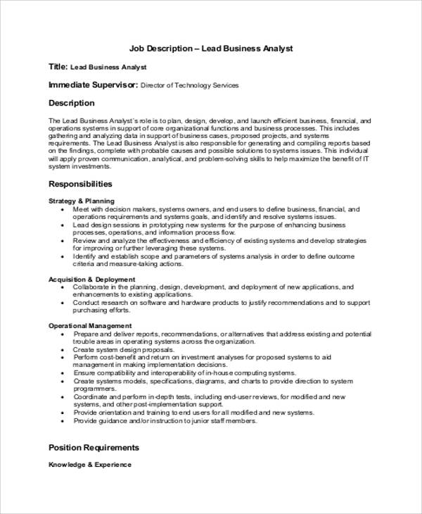 System Analyst Job Description  Sample Ideas