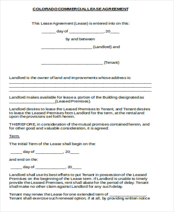 standard commercial lease agreement1