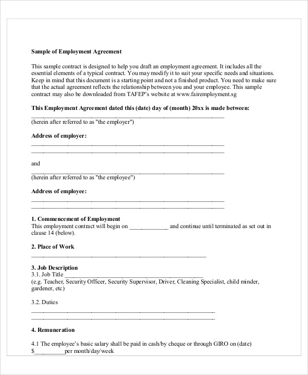 Sample Contract Employee Agreement   Examples In Word Pdf