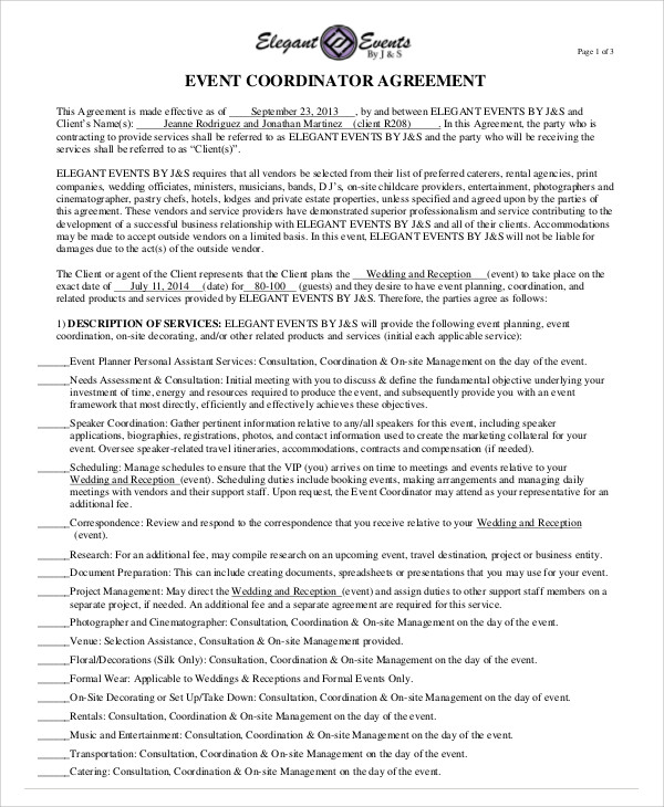 Vendor Contract Agreement 9 Sample Agreement Letter Free – Event Coordinator Contract Sample