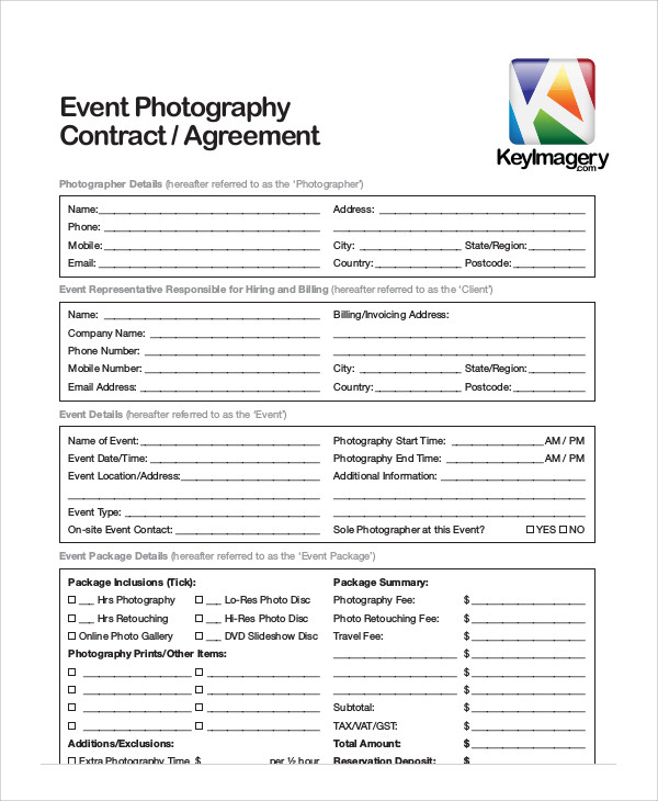 event photography contract agreement
