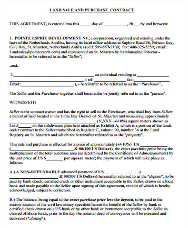 Sample Land Contract Agreement   Examples In Word Pdf