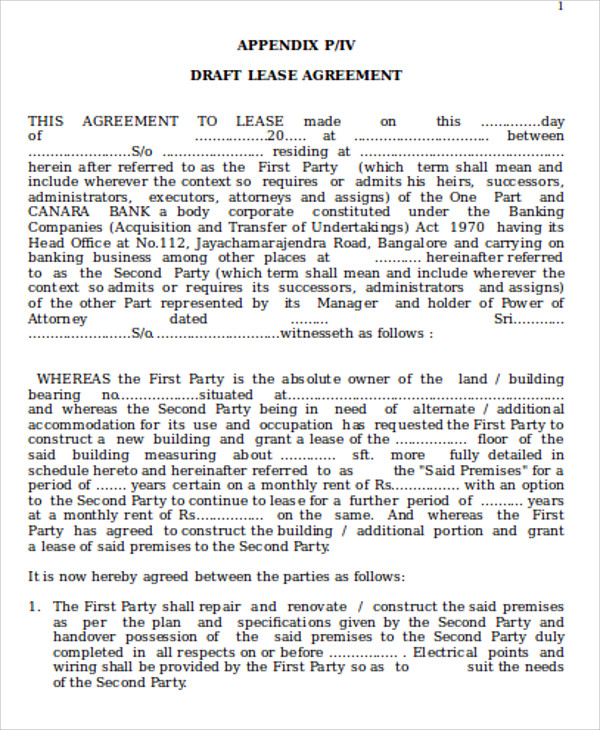 commercial building lease agreement format