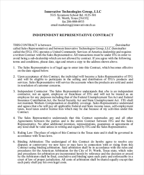 Sample Independent Agreement Contract 8 Examples In Word Pdf