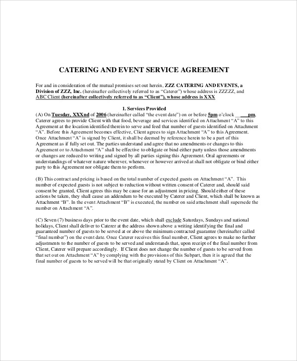 event service contract agreement