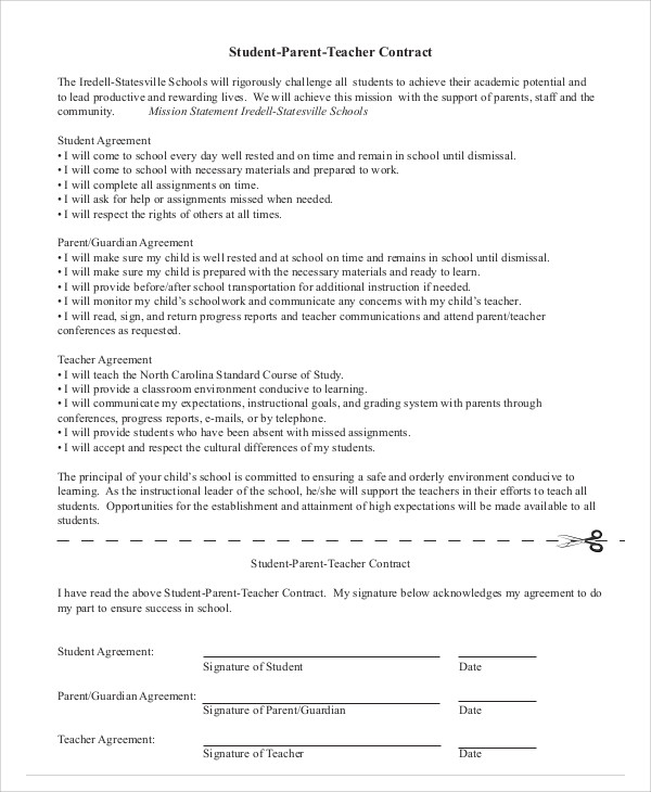 Student Agreement Contract Sample 7 Examples in Word PDF – Teacher Agreement Contract
