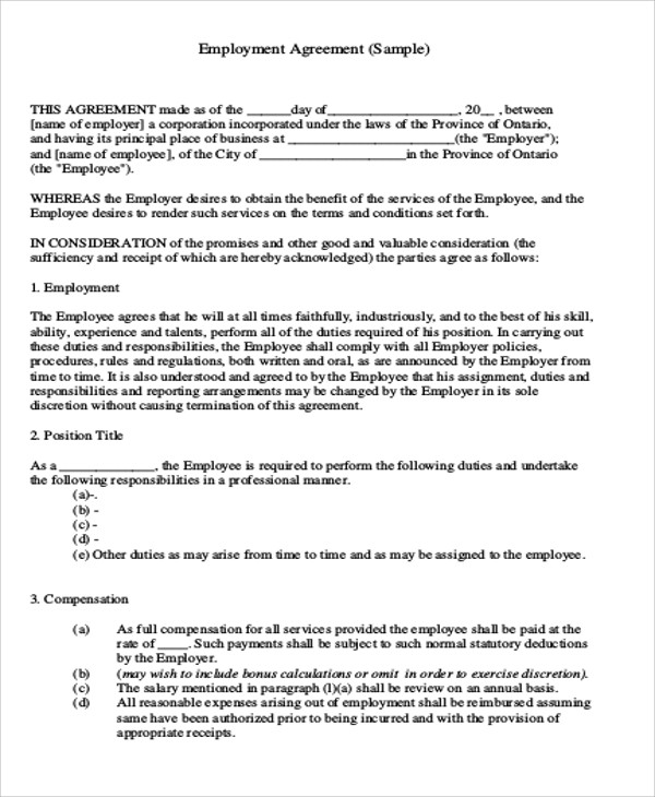 Employee Agreement Sample  BesikEightyCo