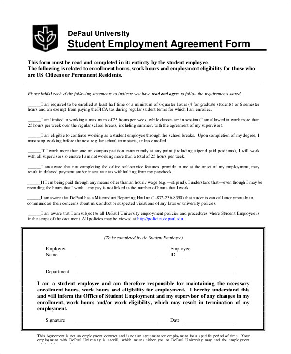 student employment agreement contract