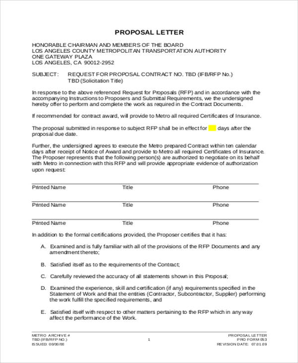 formal business proposal letter example