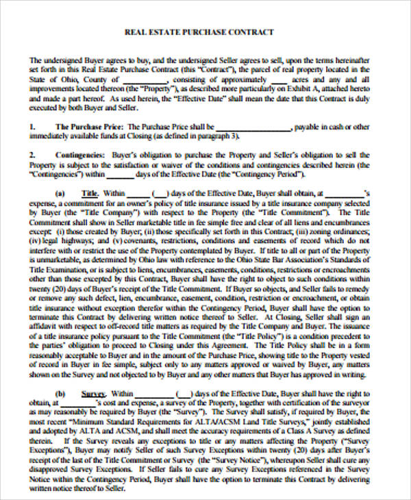 Sample Purchase Agreement Contract   Examples In Word Pdf