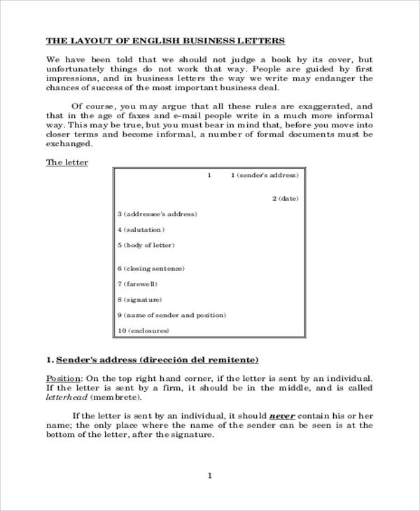 formal business letter layout example