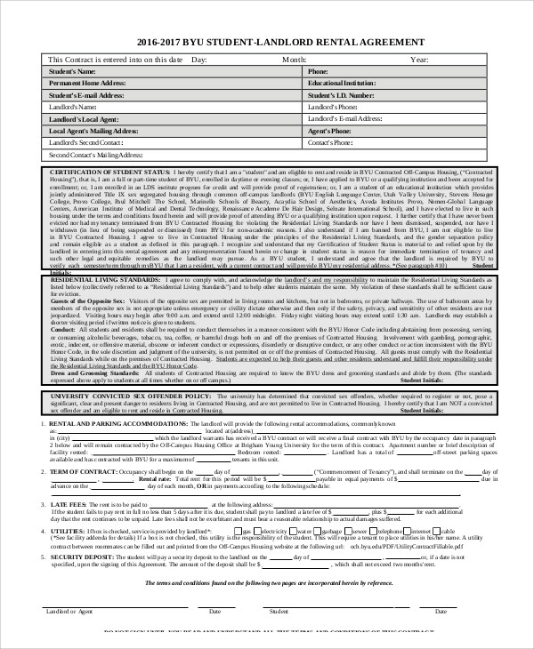 student rental agreement contract