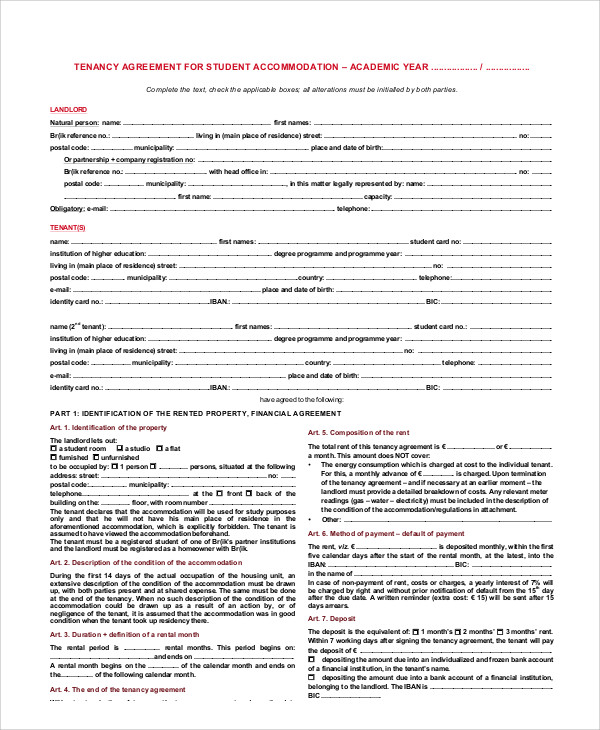 student agreement contract sample