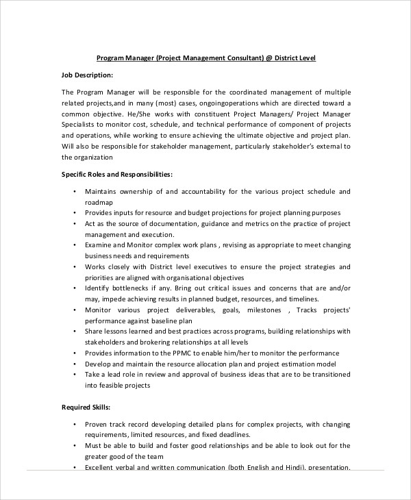 Management Consultant Job Description Sample   Examples In Word