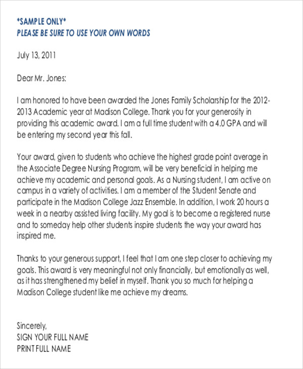 Sample ThankYou Letter For Scholarship Award   Examples In