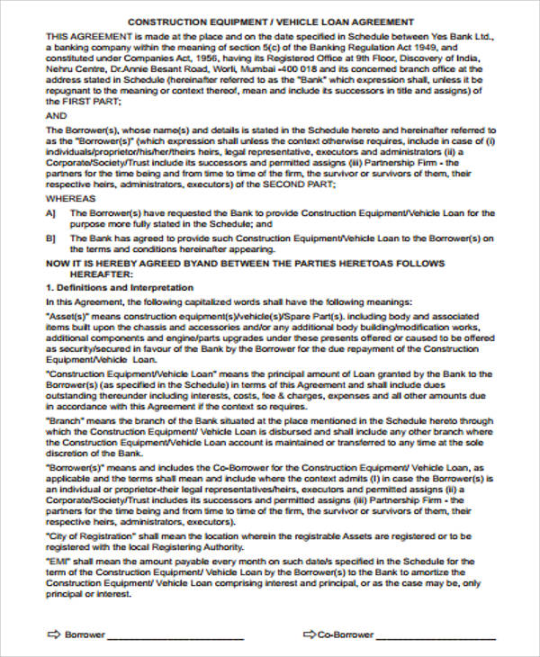 vehicle loan agreement contract pdf